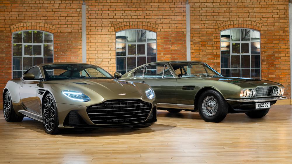 Aston Martin's OHMSS-edition DBS Superleggera flanked by the 1969 film version.
