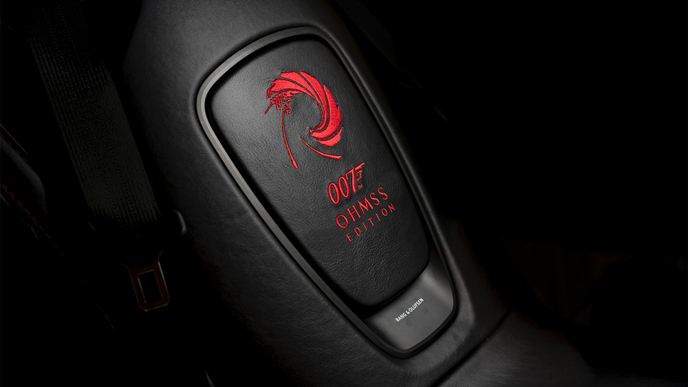 An example of the car's exclusive logo stitchwork and badging