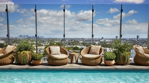 The rooftop pool at 1 Hotel West Hollywood