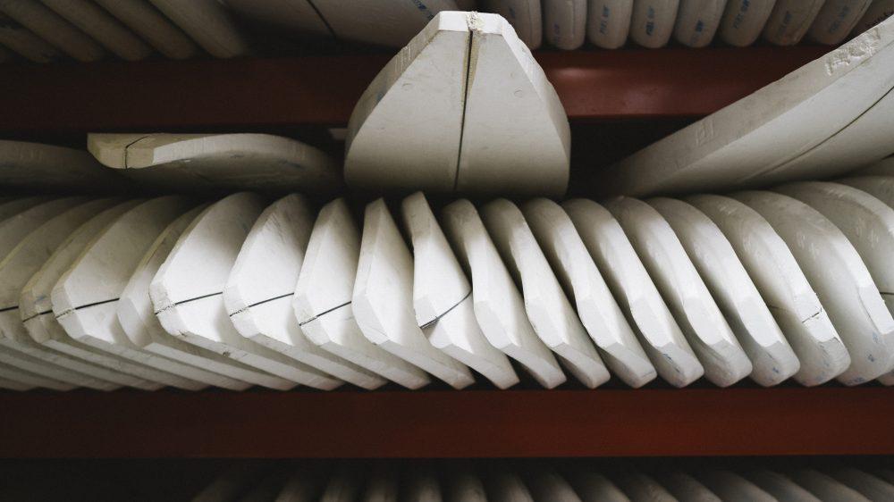 """All Jon Pyzel surfboards start of as polyurethane foam """"blanks""""."""