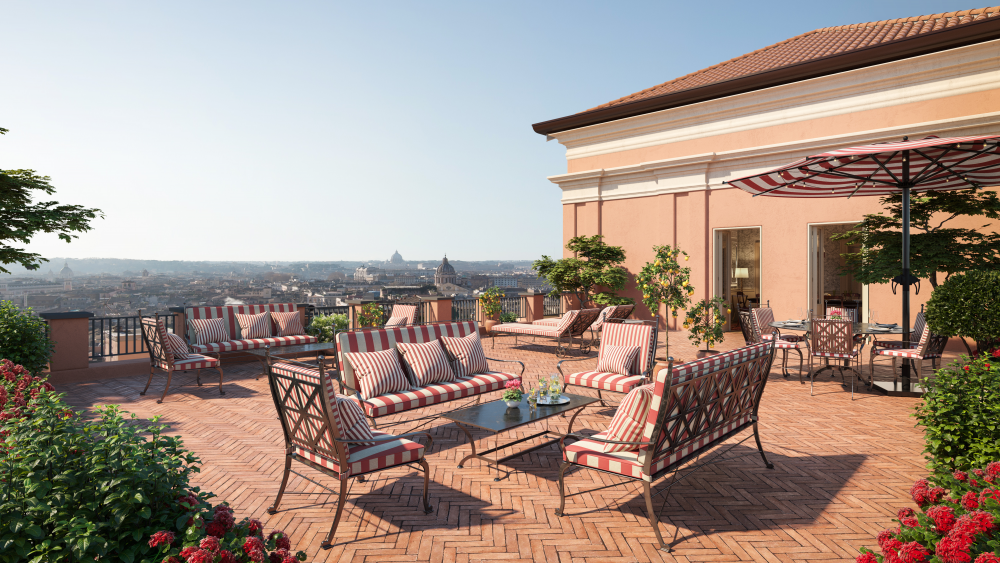 One of the Suite de la Ville's panoramic terraces.