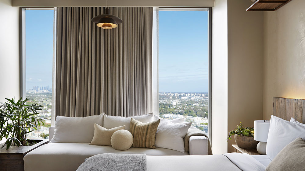 A guest room at the 1 Hotel West Hollywood