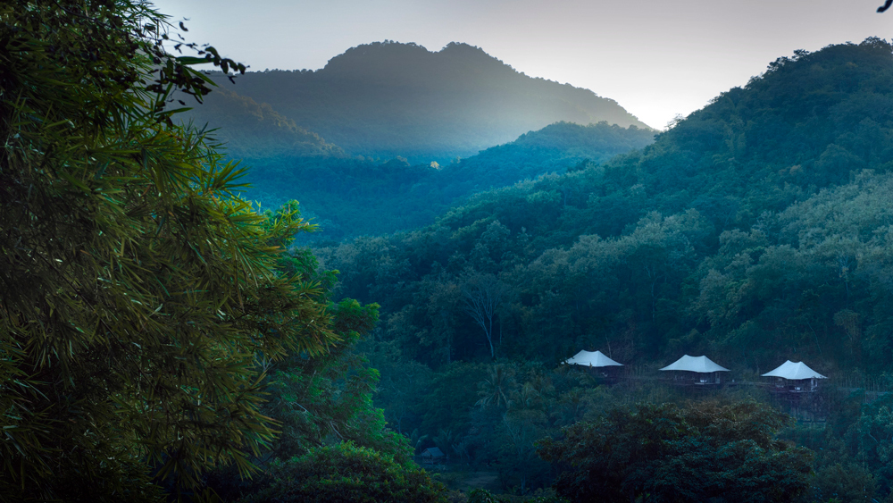 One of Bensley's other projects, the Rosewood Luang Prabang in Laos, which features six lush tents tucked away in the jungle.