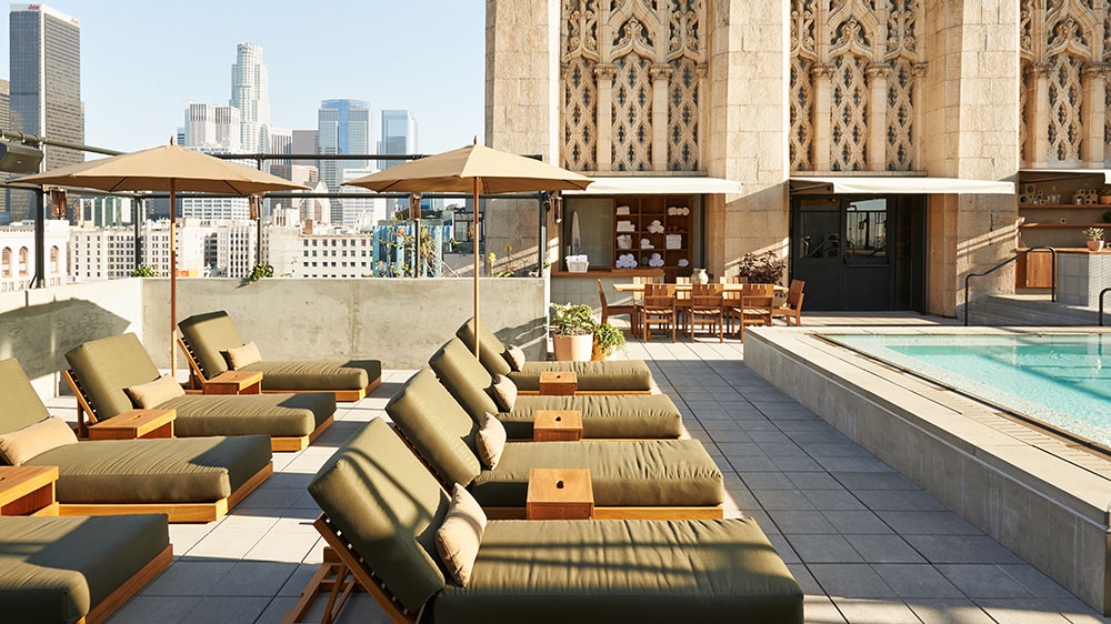 Upstairs rooftop pool bar at Ace Hotel Downtown Los Angeles