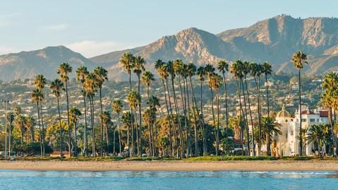 Santa Barbara coastline palm trees California