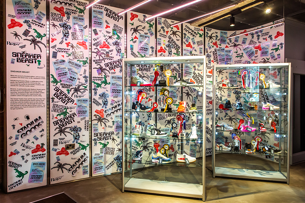 Stadium Goods' trophy case is traveling all the way from New York for the Sneaker Beast project at Browns East in London.
