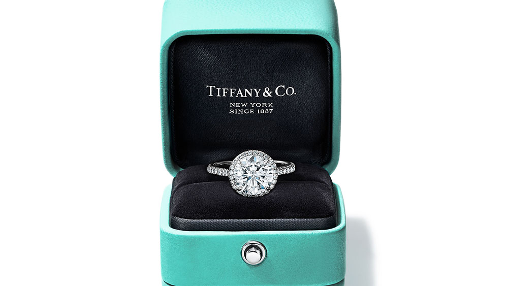 Tiffany and co diamond ring in classic blue box