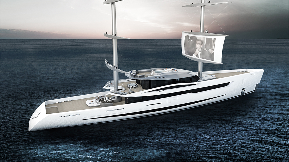 Project Vela Sailing Yacht with movie projected on sail