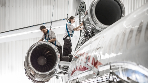 Technicians at Dassault Aviation working on the new Falcon 6X.