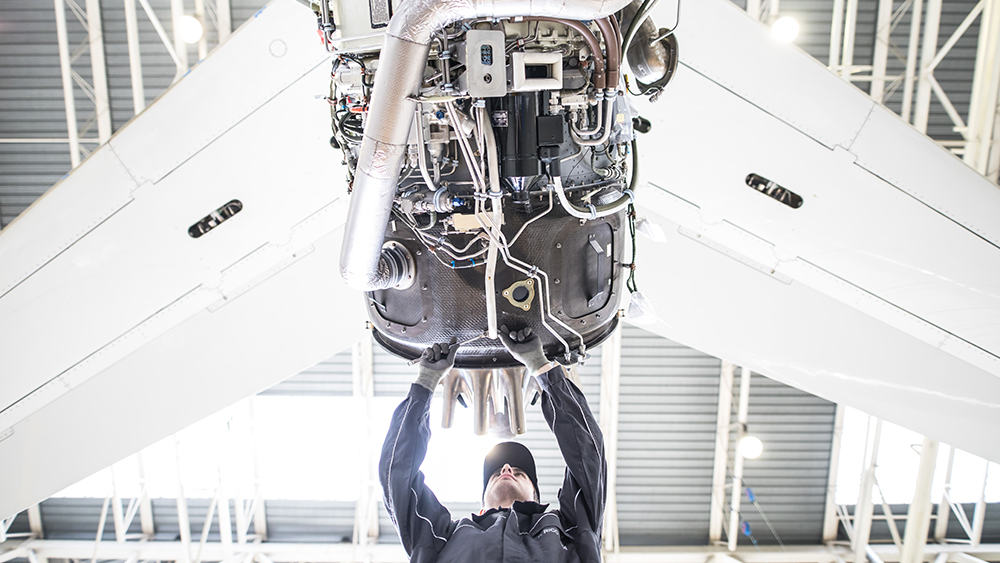 Technicians at Dassault Aviation working on the new Falcon 6X