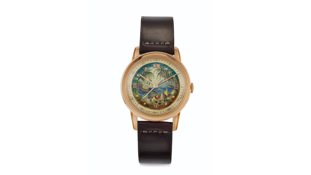 "Patek Philippe Watch with Cloisonné Enamel ""Tropical Oasis"" Dial Lot 100"
