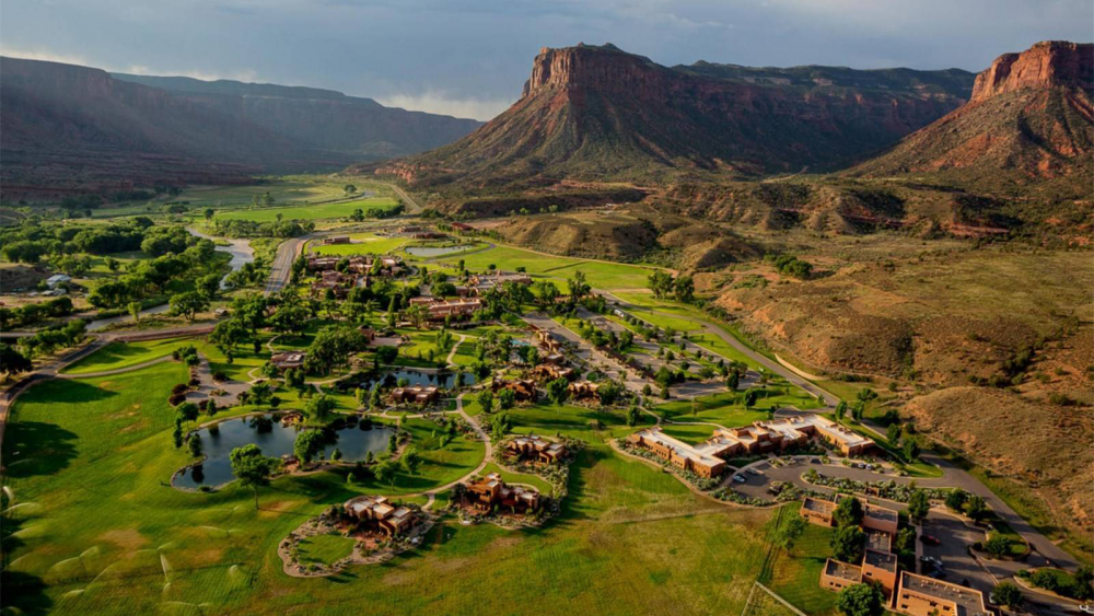 An aerial view of Gateway Canyons Ranches & Resort