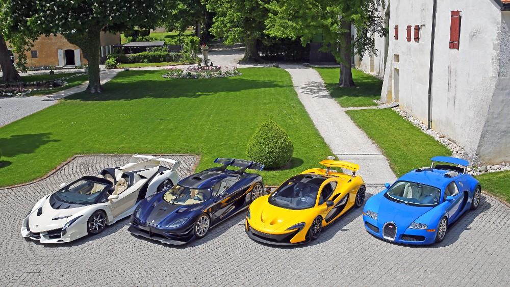 A Lamborghini Veneno, Koenigsegg One:1, McLaren P1 and Bugatti Veyron 16.4