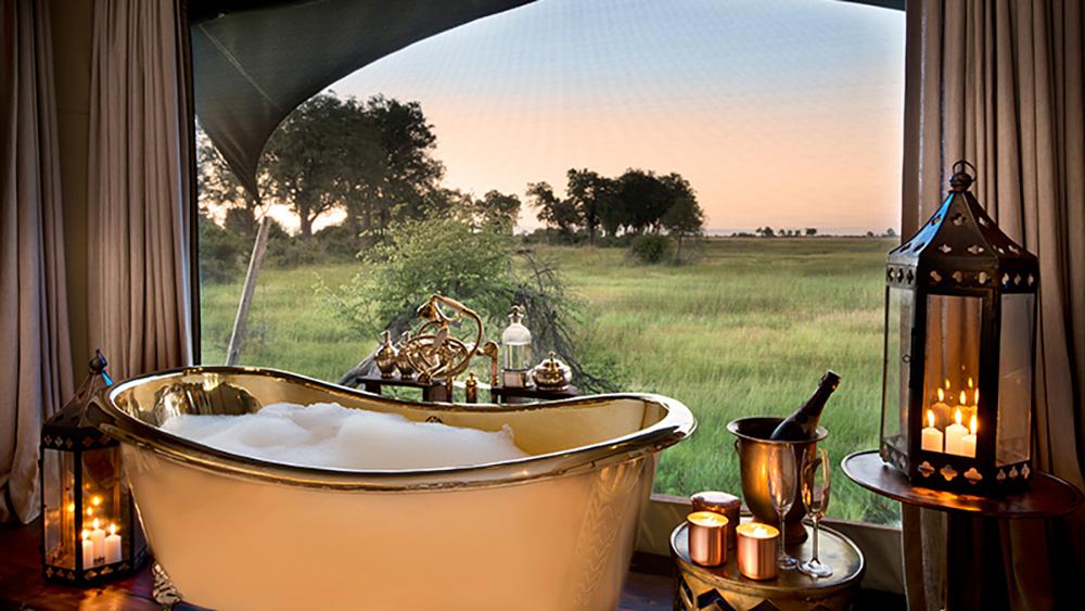 The bathtub at Botswana Duba Plains camp