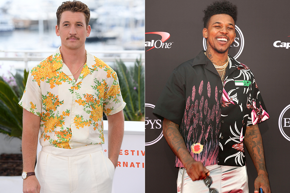 Miles Teller wore a camp collar shirt from John Elliott at Cannes in May; Last year, Nick Young wore a version from Prada at the Espy's.