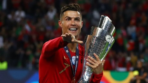 Cristiano Ronaldo after Portugal won the UEFA Nations League Final