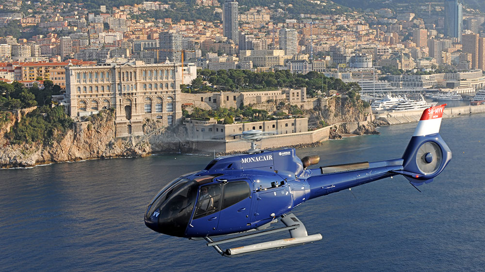 Flying Monacair helicopter over Monaco