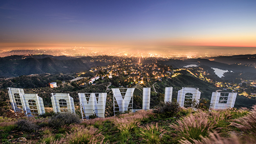 LOS ANGELES, CALIFORNIA - FEBRUARY 29, 2016: The Hollywood sign overlooking Los Angeles. The iconic sign was originally created in 1923.; Shutterstock ID 385009372; Notes: oscar hotels