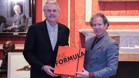Gordon Murray (left) and Phillip Porter with One Formula: 50 Years of Car Design.