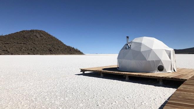 The geodesic domes of Kachi Lodge atop Bolivia's vast salt flats