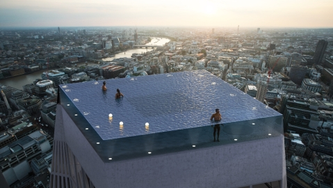 A mockup of Compass Pools' planned infinity pool in London