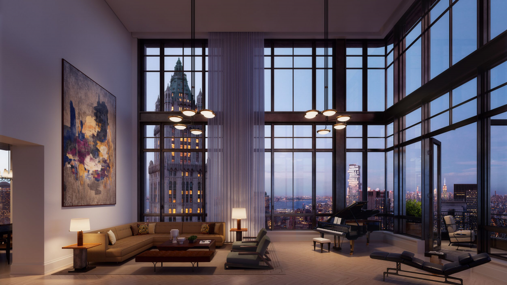Inside the duplex penthouse at 25 Park Row.