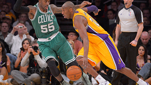 Kobe Bryant, Terrence Williams Los Angeles Lakers guard Kobe Bryant, right, drives toward the basket as Boston Celtics guard Terrence Williams defends during the second half of their basketball game, in Los Angeles. The Lakers won 113-99Celtics Lakers Basketball, Los Angeles, USA