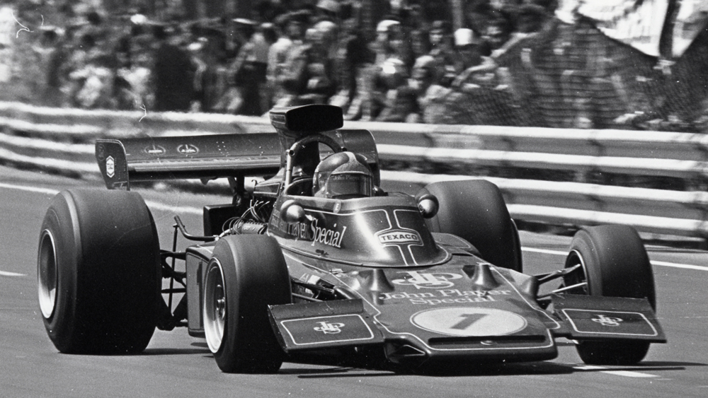 Emerson Fittipaldi and his Lotus Type 72 campaigning in Formula 1.