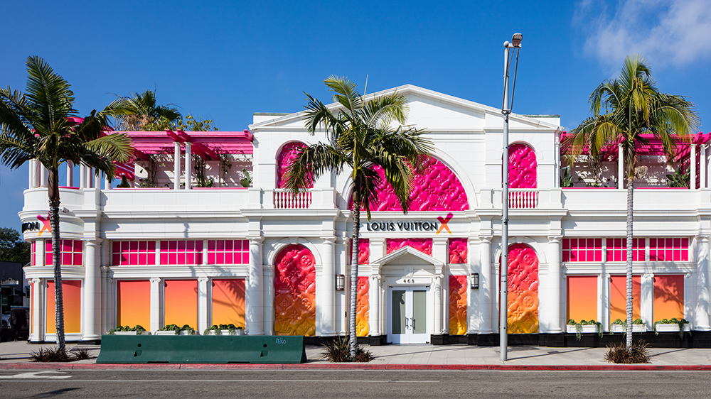 The exterior of Louis Vuitton X, the brands new pop-up exhibition on Rodeo Drive in Beverly Hills.