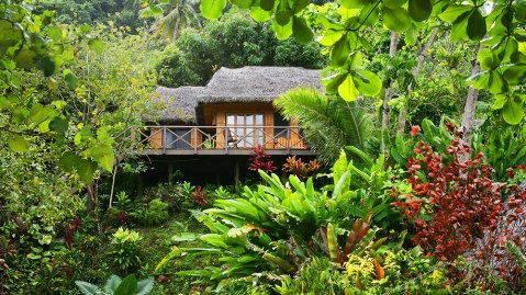 A treehouse bure at Matangi Private Island Resort