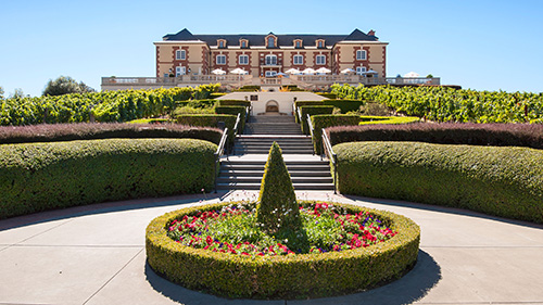 Beautiful view of the Domaine Carneros Winery and Vineyard in Napa Valley.