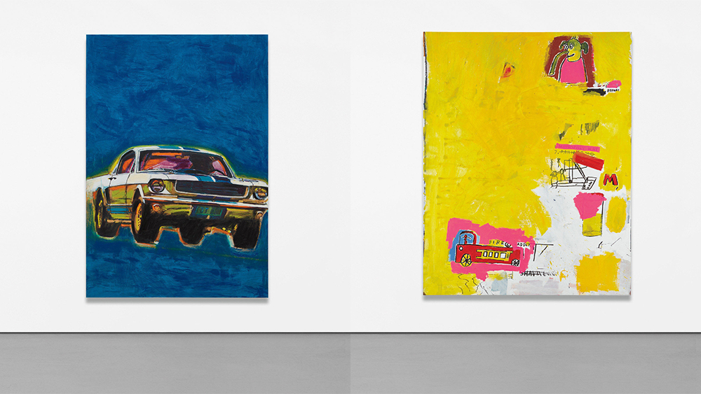 Richard Prince's Mustang Painting (2014-2016) and Jean-MIchel Basuiat's Pink Elephant with Fire Engine (1984)