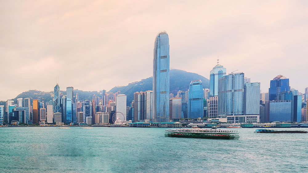 Empty sea and modern city skyline panorama in Hong Kong China