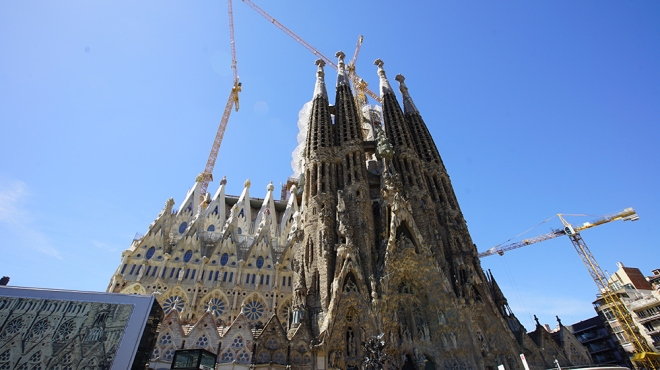 Barcelona, Spain - April 29, 2019: Cathedral of La Sagrada Familia. It is designed by architect Antonio Gaudi and is being build since 1882.