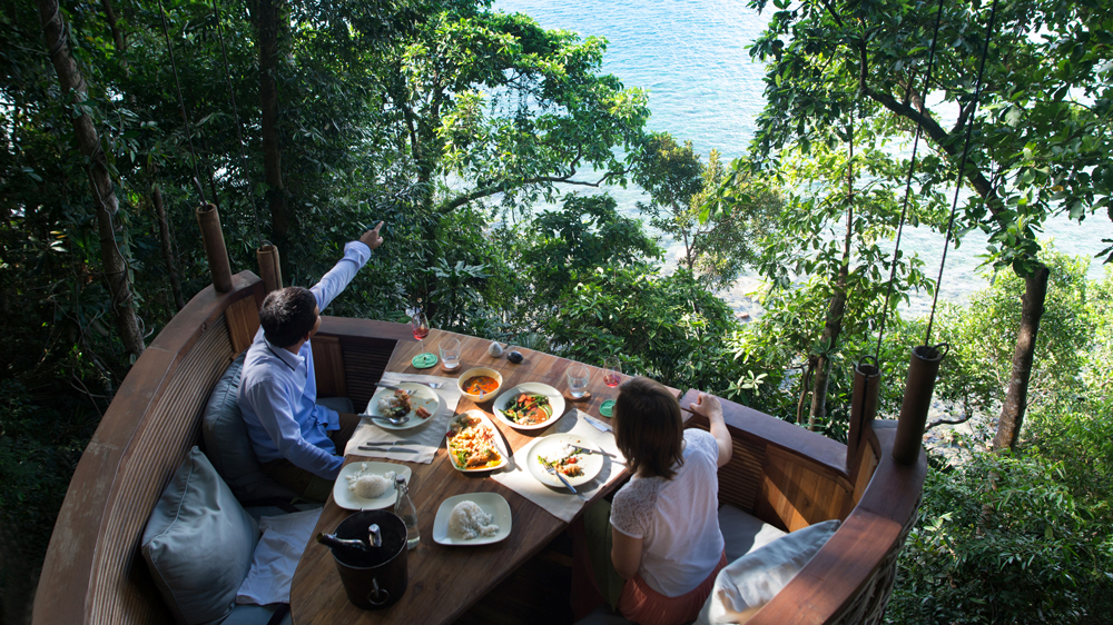 Treepod dining at Soneva Kiri, Thailand