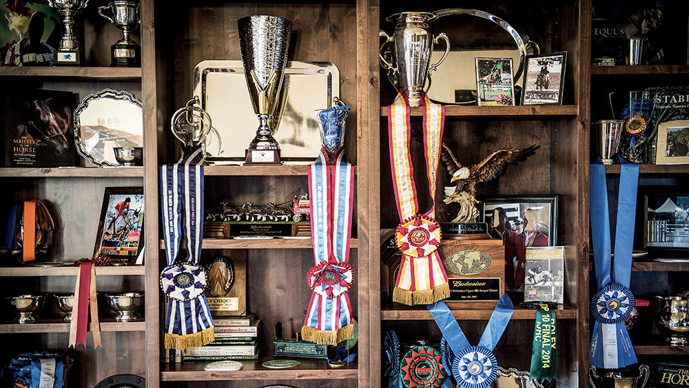 The trophy room in Kent Farrington's barn