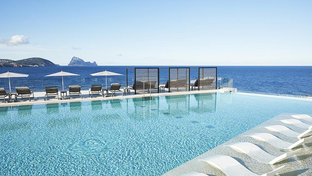 The infinity pool at 7Pines Resort Ibiza