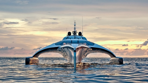Trimaran Adastra 140-foot custom superyacht