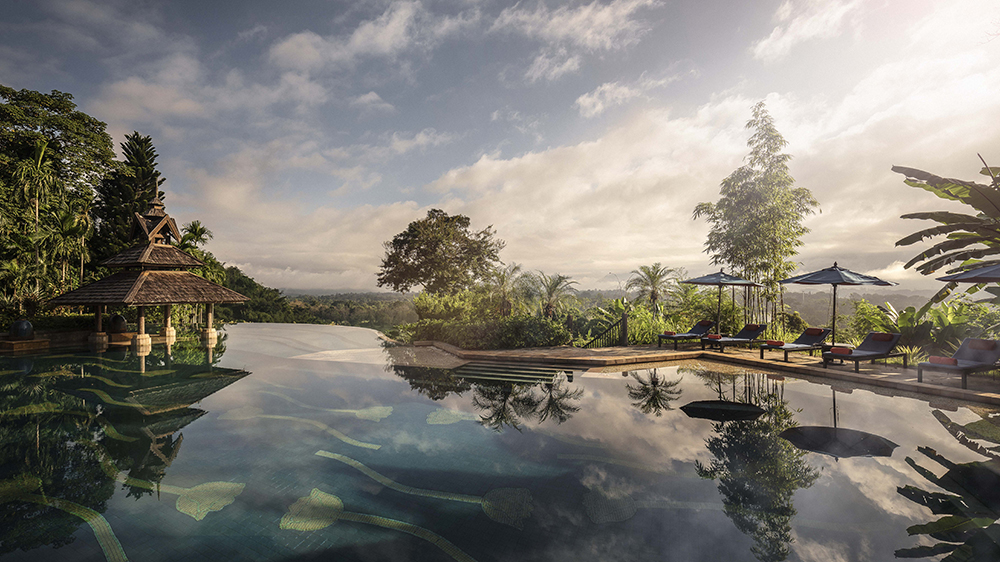 Infinity pool at Anantara Golden Triangle Elephant Camp & Resort