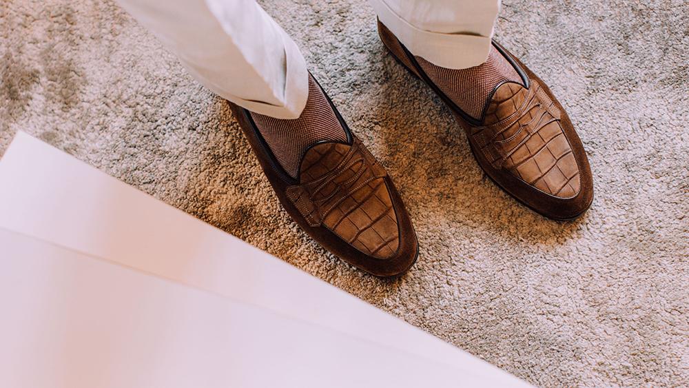 Baudoin & Lange's alligator and suede penny loafer.