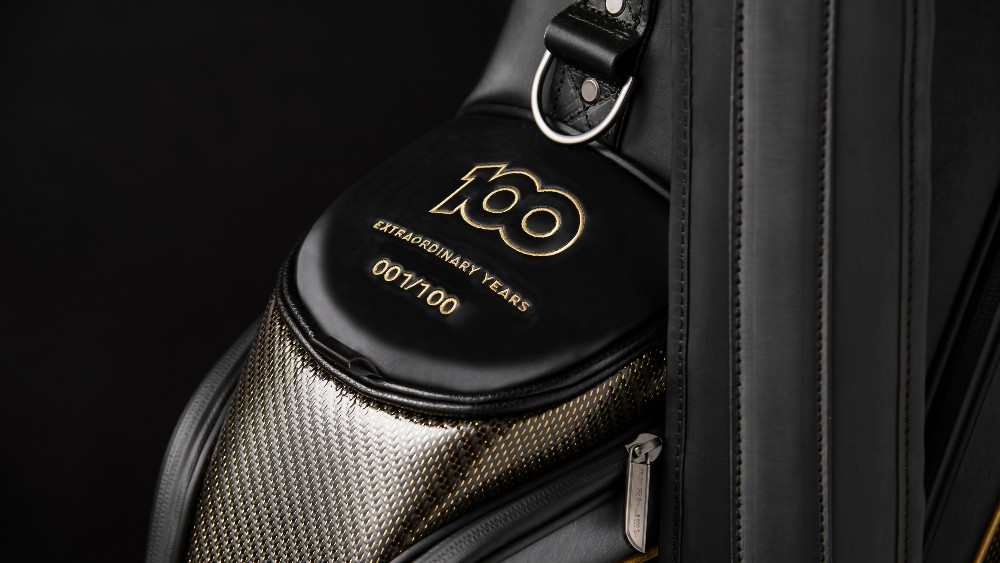 The Bentley Centenary Golf Set's bag