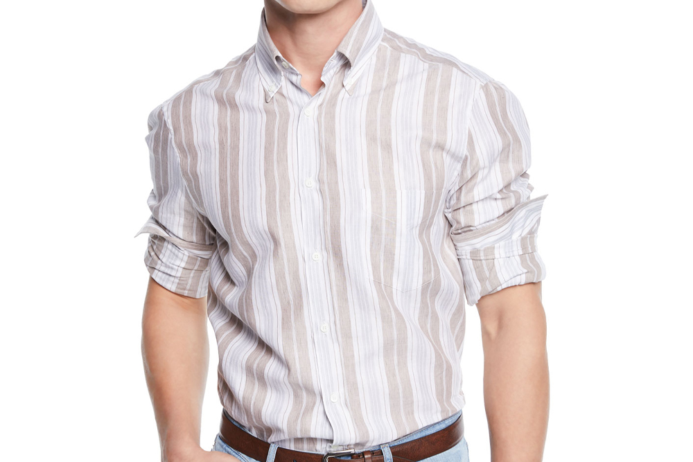 Brunello Cucinelli Linen/Cotton Stripe Sport Shirt