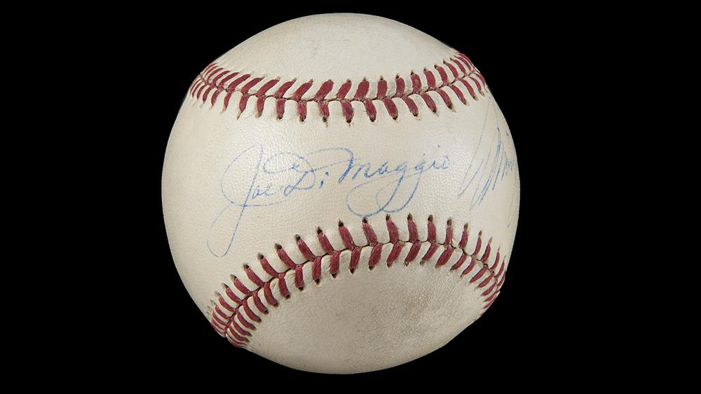 An ultra-rare baseball signed by Joe DiMaggio and Marilyn Monroe