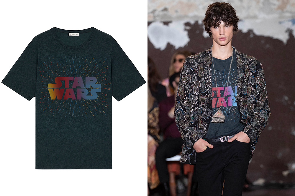 A model wearing an Etro x Star Wars t-shirt on the runway.