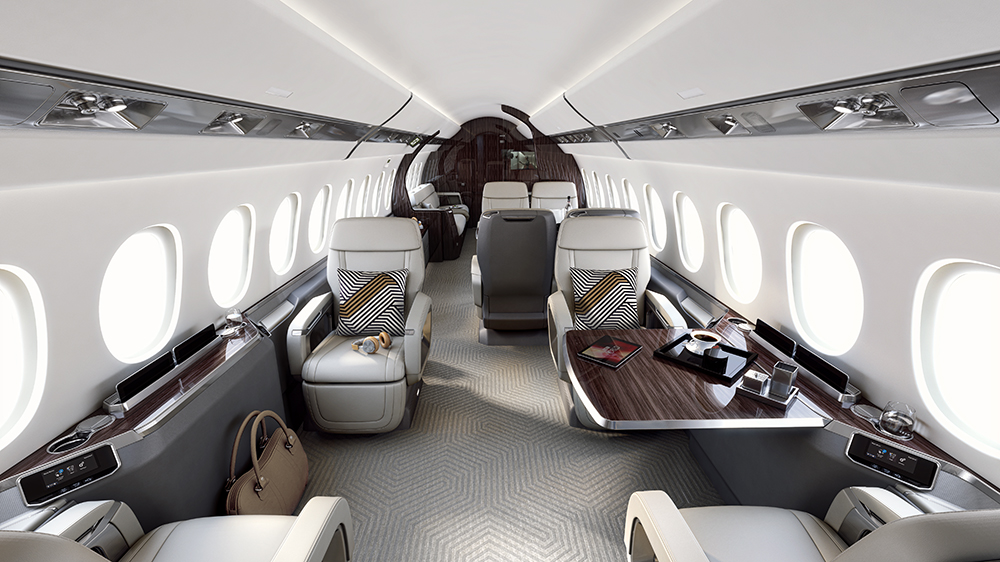 The cabin of the Dassault Falcon 6X Business Jet