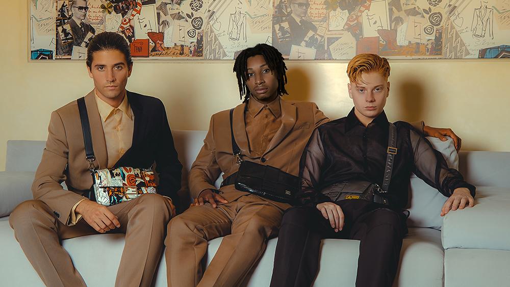Marc Forné, Leo Mandella and Nasir Dean in Fendi's men's Baguette bag campaign.