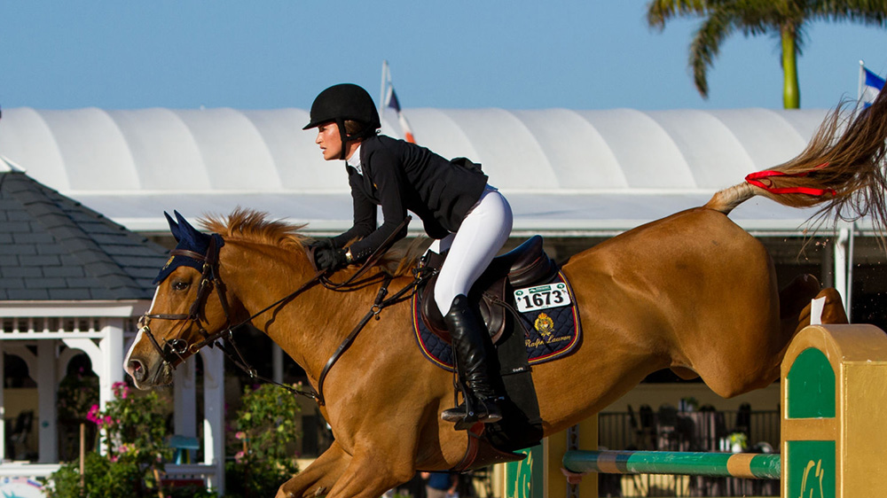 WELLINGTON, FL - MARCH 30: Jessica Springsteen during the $35,000 Bainbridge 1.45M Classic at the Winter Equestrian Festival on March 30, 2018 at The Palm Beach International Equestrian Center in Wellington, Florida. (Photo by Aaron Gilbert/Icon SportsWire)