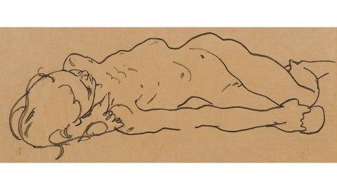 "Egon Schiele's ""Reclining Nude Girl,"" circa 1918."
