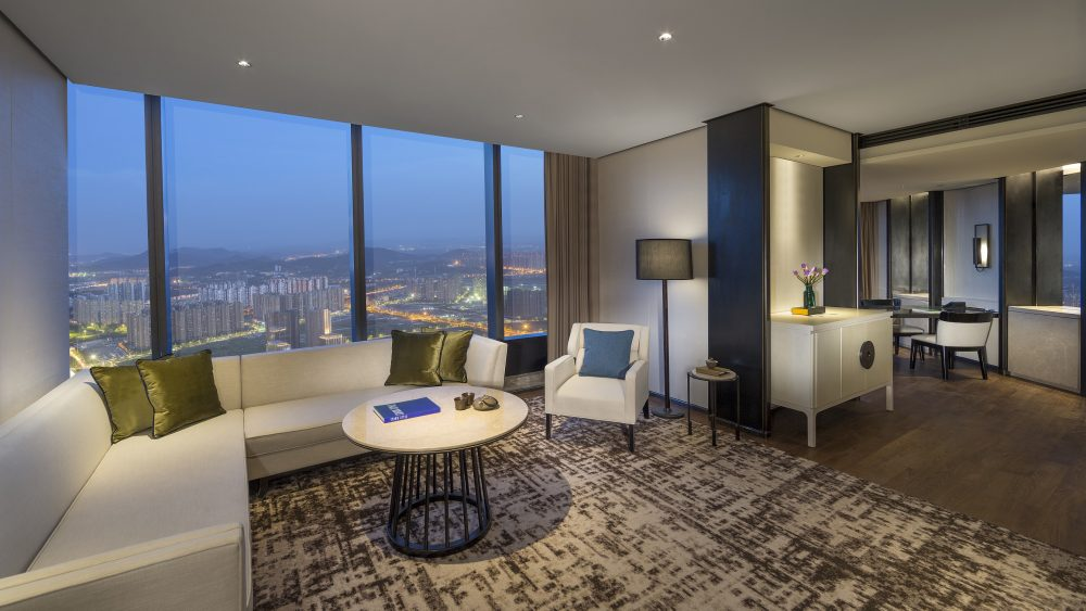 The suite's living room at Jumeirah Nanjing in China