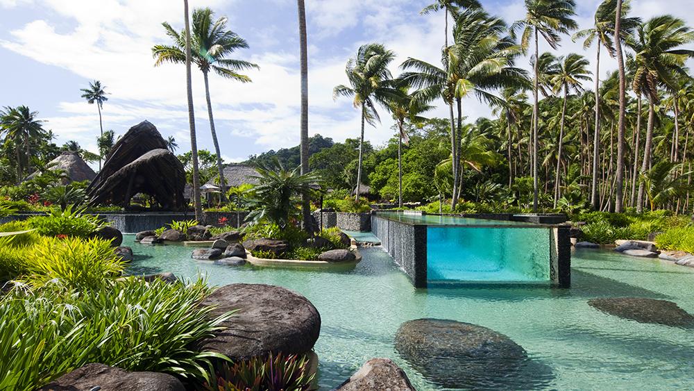 The main pool at Laucala Island resort in Fiji